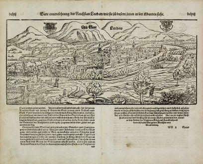 Antike Landkarten, Münster, Deutschland, Rheinland-Pfalz, Landau, 1574: Ware contrafehtung der Reichstatt Landaw, wie sie zu unsern zeiten in der Mauren steht.