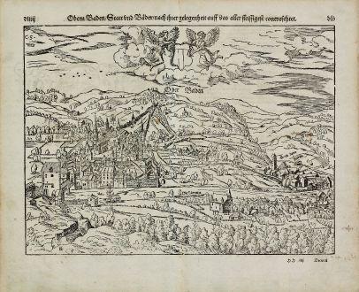 Antike Landkarten, Münster, Schweiz, Aargau, Baden, 1574: Obern Baden, Statt und Bäder, nach ihrer Gelegenheit auff das aller fleissigest contrafehtet.