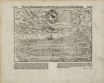 Antike Landkarten, Münster, Schweiz, Bern, 1574: Bern in der Eydgnoschafft an dem Wasser Aar gelegen, figuriert nach ihrer gelegenheit.