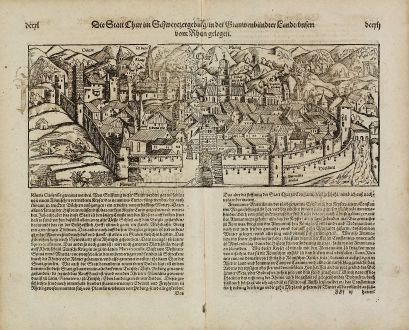 Antike Landkarten, Münster, Schweiz, Graubünden, Chur, 1574: Die Statt Chur im Schweizergebirg, in der Grauwenbündter Land, unten vom Rhein gelegen.