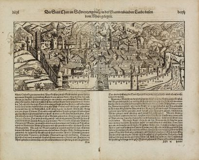 Antique Maps, Münster, Switzerland, Graubunden, Chur, 1574: Die Statt Chur im Schweizergebirg, in der Grauwenbündter Land, unten vom Rhein gelegen.