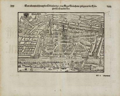 Antike Landkarten, Münster, Schweiz, Solothurn, 1574: Ware abcontrafhetung der loblichen und alten statt Solothurn, gelegen in der Eydtgnoschafft an der Aar.