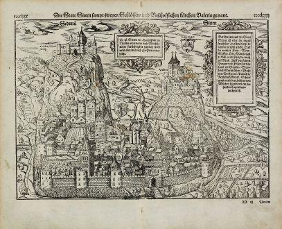 Antike Landkarten, Münster, Schweiz, Wallis, Sitten, Sion, 1574: Die Statt Sitten sampt zweyen Schloessern und Bischofflichen Kirchen, Valeria genannt.