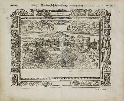 Antike Landkarten, Münster, Italien, Neapel (Napoli), 1574: Neapels - Der Koenigliche Statt Neapels abcontrafehtung. / Regn. Neapolit. Mare mediterraneu.