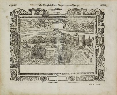 Antique Maps, Münster, Italy, Naples (Napoli), 1574: Neapels - Der Koenigliche Statt Neapels abcontrafehtung. / Regn. Neapolit. Mare mediterraneu.