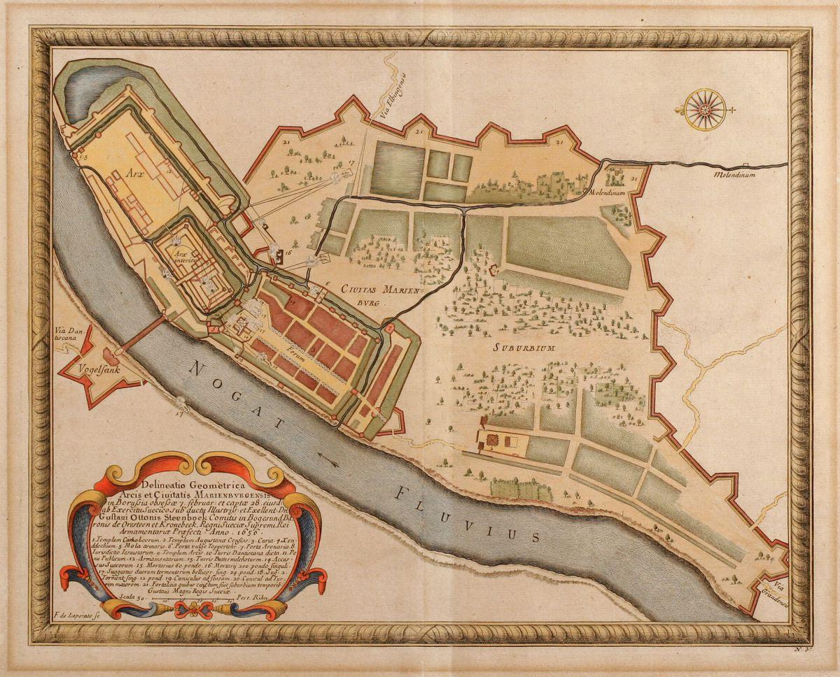 Poland - Pufendorf, Samuel Baron von - Delineatio Geometrica Arcis et  Ciuitatis.