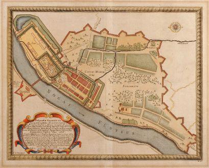 Antike Landkarten, von Pufendorf, Polen, Marienburg, 1696: Delineatio Geometrica Arcis et Ciuitatis Marienbvrgensis in Borussia