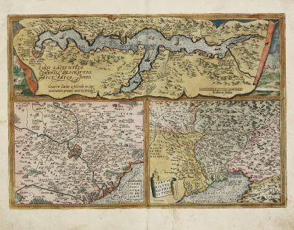 Antike Landkarten, Ortelius, Italien, Comer See, Rom, Udine, 1584: Larii Lacus vulgo Comensis Descriptio / Territorii Romani Descrip. / Fori Iulii vulgo Friuli Typus