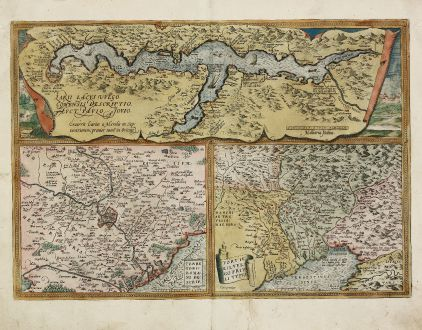Antique Maps, Ortelius, Italy, Lake Como, Rome, Udine, 1584: Larii Lacus vulgo Comensis Descriptio / Territorii Romani Descrip. / Fori Iulii vulgo Friuli Typus