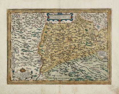 Antique Maps, Ortelius, Romania - Moldavia, Transylvania, 1584: Transilvania