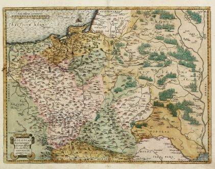 Antike Landkarten, Ortelius, Polen, 1584: Poloniae Finitimarumque Locorum Descriptio Auctore Wenceslao Godreccio Polono