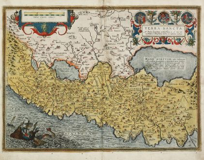 Antique Maps, Ortelius, Holy Land, Israel, Palestine, 1584: Terra Sancta, a Petro Laicstain Perlustrata, et ab eius Ore et Schedis a Christiano Schrot in Tabulam Redacta