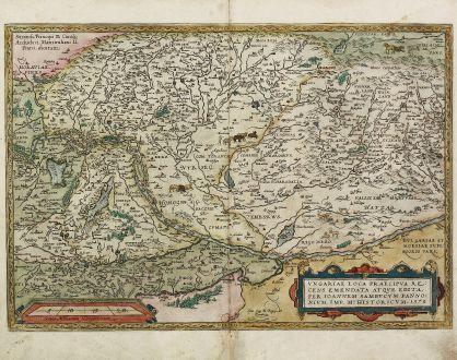 Antike Landkarten, Ortelius, Österreich - Ungarn, Transsilvanien, 1584: Ungariae Loca Praecipua Recens Emendata atque Edita, per Ioannem Sambucum Pannonium, Imp. Ms. Historicum. 1579