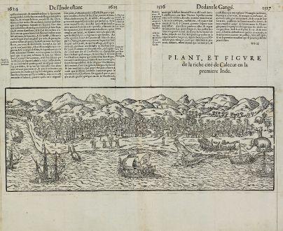 Antike Landkarten, de Belleforest, Indien, Kalikut, Kozhikode, Calicut, 1575: Plant, et Figure de la riche cité de Calecut en la premiere Inde.