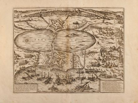 Antique Maps, Braun & Hogenberg, Tunis, 1575: Tunes Urbs