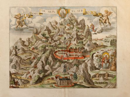 Antique Maps, Janssonius, Spain - Portugal, Montserrat, 1657: S. Maria de Monte Serrato