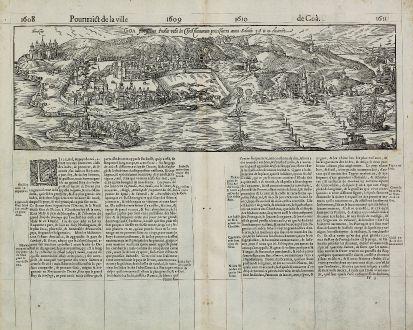 Antike Landkarten, de Belleforest, Indien, Goa, 1575: Goa Fortissima Indiae Urbs in Chris Fianorum potesfatem anno Salutis 1509 deuenit