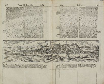 Antique Maps, de Belleforest, India, Diu, 1575: Diu