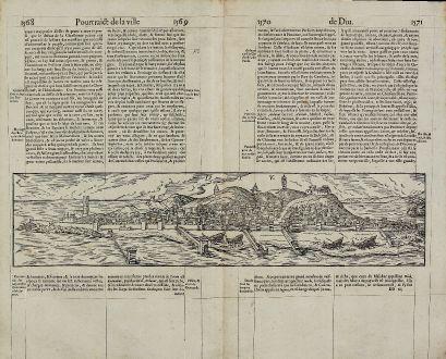 Antike Landkarten, de Belleforest, Indien, Diu, 1575: Diu