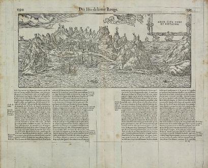 Antike Landkarten, de Belleforest, Mittlerer Osten, Saudi Arabien, Jemen, Aden: La Ville de Aden / Aden Cite Chef du Royaume.
