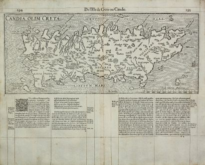 Antique Maps, de Belleforest, Greece, Crete, 1575: Candia, olim Creta