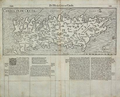 Antike Landkarten, de Belleforest, Griechenland, Kreta, 1575: Candia, olim Creta