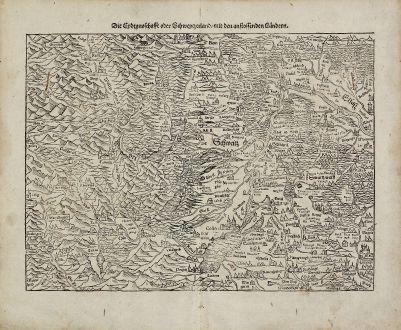 Antike Landkarten, Münster, Deutschland, Rheinlauf, 1574: Die Eydtgnoschafft oder Schwytzerland, mit den anstossenden Landern / Die ander Tafel desz Rheinstroms begreiffend die...