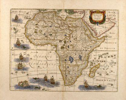 Antike Landkarten, Hondius, Afrika Kontinent, 1633: Africae nova tabula