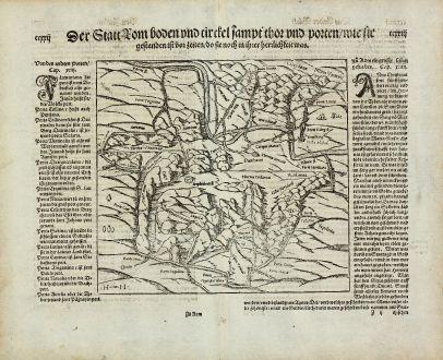 Antique Maps, Münster, Italy, Ancient Rome, Roma, 1574: Der Statt Rom boden und circkel sampt thor vnnd porten, wie sie gestanden ist vor zeiten, do sie noch in ihrer herrlichkeit...