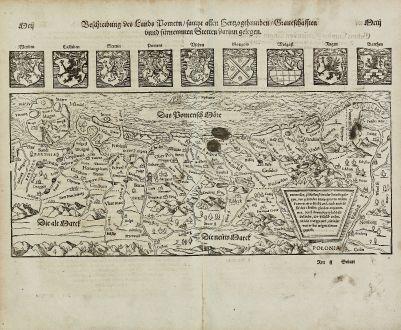 Antike Landkarten, Münster, Polen, Mecklenburg-Vorpommern, Rügen, 1574: Beschreibung des Lands Pomern, sampt allen Hertzogthumben, Graueschafften und fürnemmen Stetten darinn gelegen.