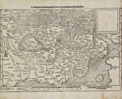 Antique Maps, Münster, Germany, 1540 (1574): Teütschland mit seinem gantzen begriff und eingschlosznen Landschafften