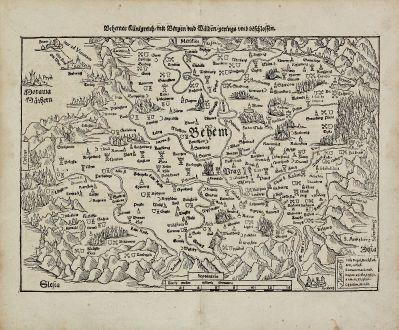 Antike Landkarten, Münster, Tschechien - Böhmen, 1574: Behemer Künigreich, mit Bergen und Waelden, gerings umb beschlossen