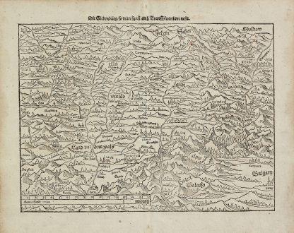 Antique Maps, Münster, Romania - Moldavia, Transylvania, 1574: Die Siebenbürg, so man sunst auch Transsylvaniam nennt