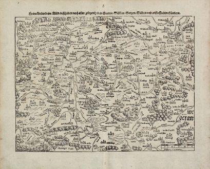 Antike Landkarten, Münster, Deutschland, Bayern, Franken, 1540 (1574): Franckenland am Main, beschriben nach aller gelegenheit in Stetten, Wassern, Bergen, Walden und anstossenden Landern