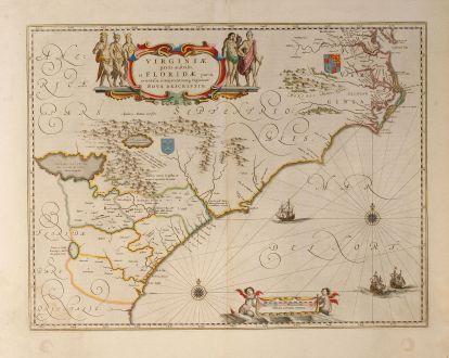 Antike Landkarten, Blaeu, Nordamerika, Virginia, 1643: Virginiae Partis australis, et Floridae Partis Orientalis, interjacentiumq, regionum Nova Descripti