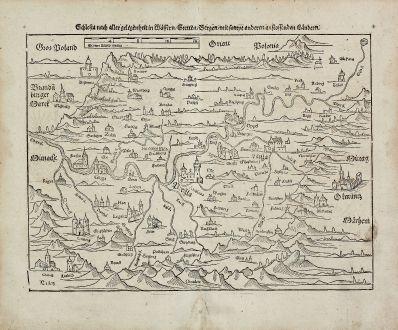 Antike Landkarten, Münster, Polen, Schlesien, 1574: Schlesia nach aller gelegenheit in Wassern, Stetten, Bergen, mit sampt andern anstossenden Ländern.