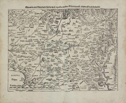 Antike Landkarten, Münster, Deutschland, Baden-Württemberg, Bayern, Schwaben: Schwaben und Beyerland, darbey auch begriffen werden Schwartzwald, Otenwald und Nordgoew.