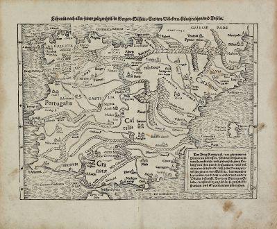 Antique Maps, Münster, Spain - Portugal, 1540 (1574): Hispania nach aller seiner gelegenheit, in Bergen, Wassern, Stetten, Volckern, Künigreichen und Inseln