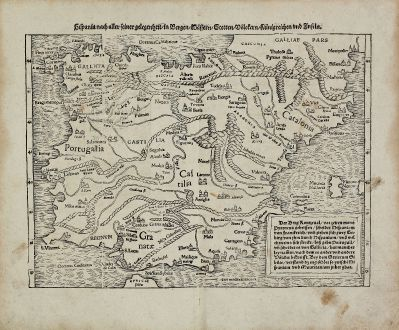 Antike Landkarten, Münster, Spanien - Portugal, 1540 (1574): Hispania nach aller seiner gelegenheit, in Bergen, Wassern, Stetten, Volckern, Künigreichen und Inseln