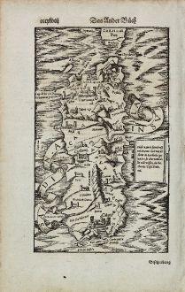 Antike Landkarten, Münster, Italien, Sardinien, 1574: Sardina Insula