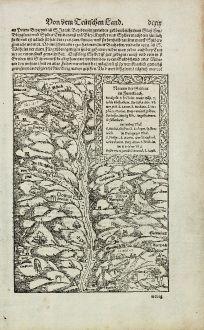 Antike Landkarten, Münster, Frankreich, Elsass, 1574: Namen der Gruben im Furtelbach