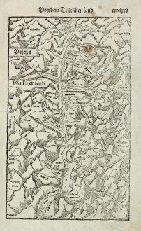 Antike Landkarten, Münster, Schweiz, Wallis, 1574: Valesia / Wallisserland