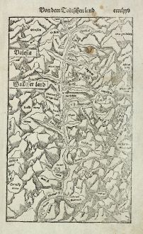Antique Maps, Münster, Switzerland, Valais, 1574: Valesia / Wallisserland