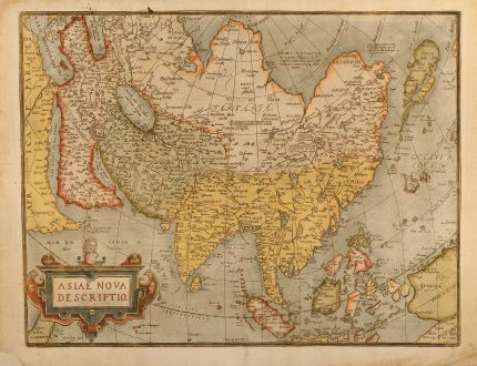 Antike Landkarten, Ortelius, Asien Kontinent, 1580: Asiae nova descriptio