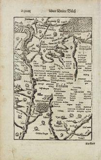 Antike Landkarten, Münster, Deutschland, Nordrhein-Westfalen, Eifel, 1574: Eyfalia