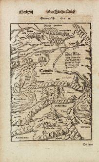 Antique Maps, Münster, Russia, Volga, Black Sea, Caspian Sea, 1574: Sarmatia Asie / Das Asiatisch Sarmatia. Das Wasser Rha nennen die Reussen Volga / die Tartern Edel.