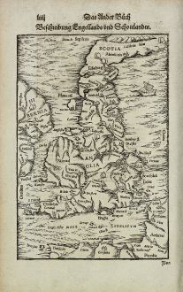Antique Maps, Münster, British Islands, England, Scotland, 1574: Beschreibung Engellands und Schottlandts.