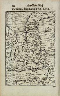 Antique Maps, Münster, British Isles, England, Scotland, 1574: Beschreibung Engellands und Schottlandts.