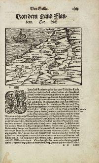 Antique Maps, Münster, Belgium, Flanders, Vlaanderen, 1574: Von dem Land Flandern.