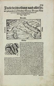 Antike Landkarten, Münster, Italien, 1574: Italie beschreibung nach aller seiner gelegenheit, in Voelckern, Stetten, Bergen, Waessern, Veraenderungen...